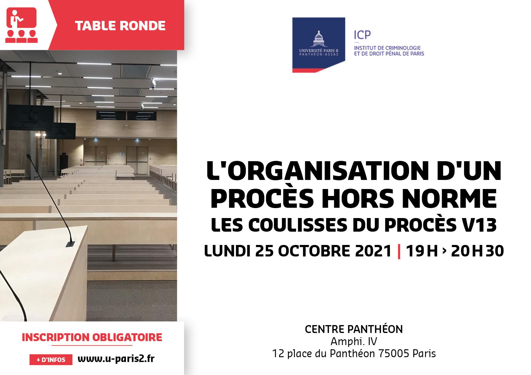 Affiche de la table ronde L'organisation d'un procès hors norme - Les coulisses du procès V13